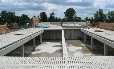 precast concrete being set in place